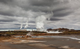 Geothermal power plant. Image of a geothermal power plant at a geothermal area in Iceland royalty free stock photography