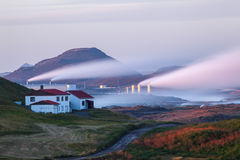 Geothermal Power Plant. Image of a geothermal power plant located at Reykjanes peninsula in Iceland royalty free stock images