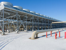 Geothermal power plant. Geothermal powered electric generating plant stock photo