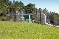 Geothermal power plant in Tuscany hills Royalty Free Stock Images