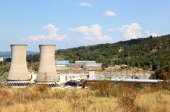 Geothermal power production in Italian Larderello. Larderello, a frazione of the comune of Pomarance in Italian Tuscany, is a volcanically active area, renowned stock photo