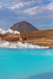 Geothermal Power Station and Turquoise Lake in Iceland Stock Images