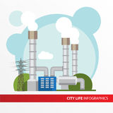 Geothermal power station Colorful illustration in a flat style. Stock Photos
