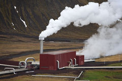 Geothermal Power Station in Iceland. Steam rising from the Krafla Geothermal Power Station in Iceland Royalty Free Stock Images