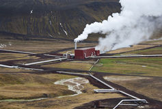 Geothermal Power Station in Iceland. Steam rising from the Krafla Geothermal Power Station in Iceland Royalty Free Stock Photos