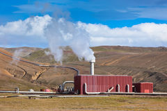 Geothermal Power Station in Iceland at Summer Sunny Day Stock Image