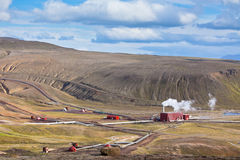 Geothermal Power Station in Iceland at Summer Sunny Day Royalty Free Stock Images