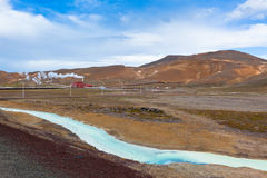 Geothermal Power Station in Iceland at Summer Sunny Day Royalty Free Stock Photo