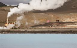 Geothermal power station and pipes in Iceland royalty free stock images