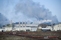 Geothermal Power Station on Reykjanes Peninsula, Iceland royalty free stock photography