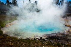 Geothermal in yellowstone park. Geothermal with rising steam and colored water in Yellowstone park stock photos