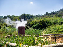 Geothermal smoke pipes fumes in Sasso Pisano, Tuscany Royalty Free Stock Image