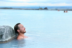 Geothermal Spa - Man Relaxing In Hot Spring Pool Stock Image