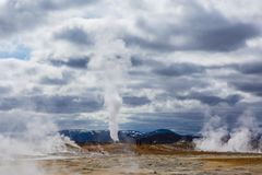 Geothermal spring hot water energy plant near Myvatn. Steaming hot water from Krafla volcano in Iceland Stock Image