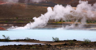Geothermal spring hot water near Myvatn Stock Photos