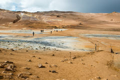 Geothermal springs and colorful desert at area Hverir, Iceland Stock Photography