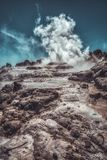 Geothermal steam in HDR royalty free stock image