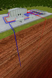 Geothermal system with cutting through the earth Royalty Free Stock Images