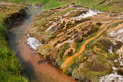 Geothermal valley near Hveragerdi, thermal springs, Iceland. Geothermal valley near Hveragerdi, thermal springs river, Iceland Royalty Free Stock Image