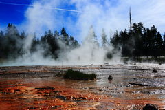 Geothermal of yellowstone park. With sunshine reflection stock images