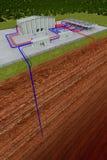 Geothermisch systeem met knipsel door de aarde Royalty-vrije Stock Afbeeldingen