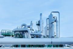 Geothermische energie. Pijpen van een krachtcentrale. Royalty-vrije Stock Foto's