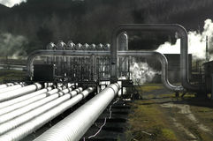 Geothermische Leistung-Feld Stockfotos