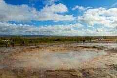 Geothermische Tätigkeit und Heißwasser in Island Stockbild