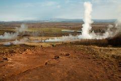 Geothermisches Bereich strokkur geysir in Island Stockbild