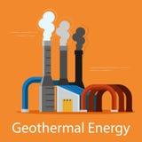Geothermisches grelles Kraftwerk auf einem orange Hintergrund Energiequellenkonzept Auch im corel abgehobenen Betrag lizenzfreie abbildung