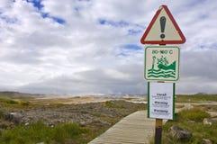 Geothermisches Heißwasser-WARNING Lizenzfreies Stockfoto