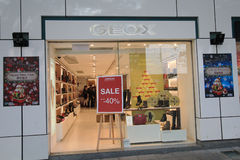 Geox shoppar i hong kveekoong Arkivfoto