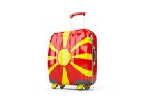Gepäck mit Flagge von Macedonia Koffer getrennt auf Weiß Lizenzfreie Stockbilder