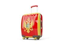 Gepäck mit Flagge von Montenegro Koffer getrennt auf Weiß Stockfoto