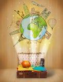 Gepäck mit Illustrationskonzept der Reise auf der ganzen Welt Lizenzfreies Stockbild