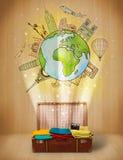 Gepäck mit Illustrationskonzept der Reise auf der ganzen Welt Lizenzfreies Stockfoto