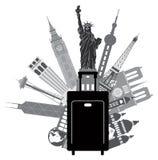 Gepäck und ikonenhafte Gebäude für Weltreise-Vektor-Illustration Lizenzfreies Stockfoto