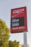 GEP petrol price electronoc display in Rimini, Italy Royalty Free Stock Photo