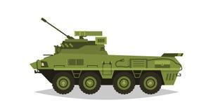 Gepantserd infanterievoertuig Exploratie, inspectie, optisch overzicht, pantser, bescherming, kanon, munitie Materiaal voor de oo vector illustratie