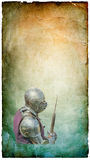 Gepantserde ridder met slag-bijl - retro prentbriefkaar Stock Foto's