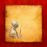 Gepantserde ridder met slag-bijl - retro prentbriefkaar Stock Fotografie