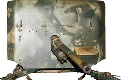 Gepanzerte Gewehr-Stellung, lokalisiert auf Weiß Lizenzfreies Stockbild