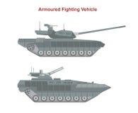 Gepanzerte Kampffahrzeuge auf weißem Hintergrund lizenzfreie abbildung