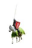Gepanzerter Ritter auf Warhorse Stockfotos