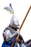 Gepanzerter Ritter auf Warhorse Lizenzfreie Stockbilder