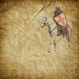 Gepanzerter Ritter auf weißem Warhorse - Retro- Postkarte lizenzfreie stockfotos