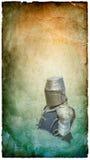 Gepanzerter Ritter im Sturzhelm mit Schild - Retro- Postkarte stockbild