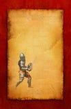 Gepanzerter Ritter mit Klinge und Schild - Retro- Postkarte lizenzfreies stockfoto