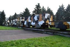 Gepanzerter Zug im Nebel Stockfotos