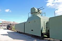 Gepanzerter Zug mit der Flugabwehr-Stellung Ausstellung des technischen Museums von Sakharov Togliatti Russland Lizenzfreie Stockfotografie